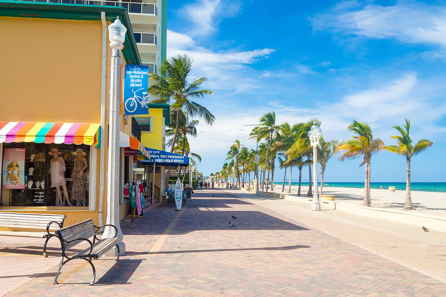 The famous Hollywood Beach boardwalk in Florida on a summer day
